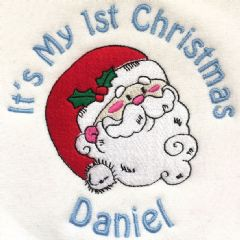 Personalised Babies Bib - It's my 1st Christmas Santa Claus